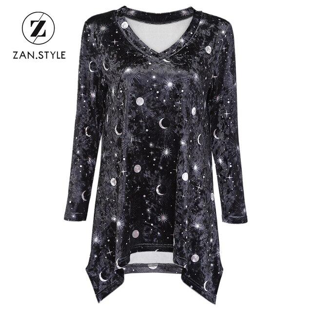 STYLE Trendy Moon Star Print Velour Asymmetric Women T-Shirt V Neck Full 42670c8eb8dc