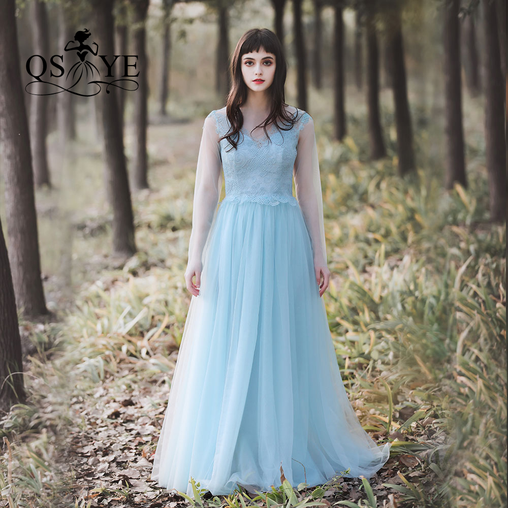 QSYYE 2019 New Collection Blue Sheer Lace Evening   Prom     Dresses   Elegant Simple Long Cheap Women Party Gown Custom Made Real Pic