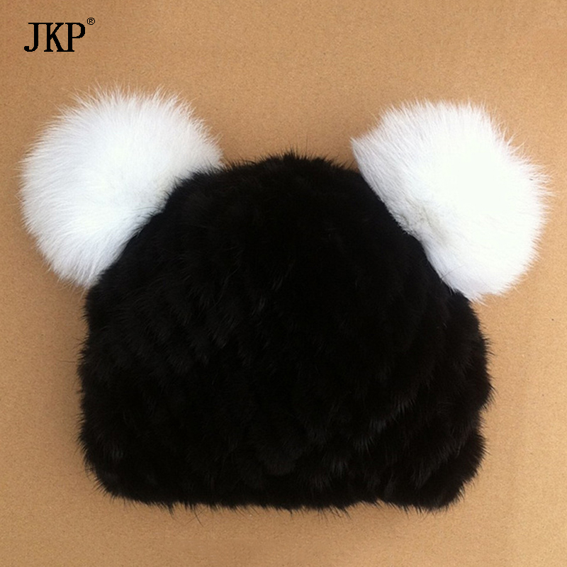 JKP 2018 New fashion winter children's real mink hat boys$girls cute cap charm genuine baby fur hat with Super fur ball HT-09 shure вокальная радиосистема с ручным передатчиком sm86
