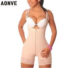 AONVE kobiety body odchudzanie płaszcza gorset modelowanie pasek Shaperwear koronkowe seksowne body wyszczuplające z zamkiem błyskawicznym gorset waist trainer