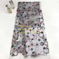 stock 5yards/bag 3 color embroidery sequined circle pattern French fabric used for wedding dress fashion dinner ST31#