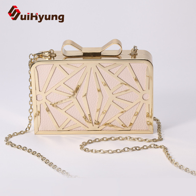 New Fashion Women Party Clutch Bag. PU Leather Hollow Metal Bow Buckle Evening Bag. Female Banquet Handbag With Shoulder Chain  new fashion weave striped pu leather pearl leather pair mini bag old bag clutch bag female chain purse handbag shoulder bag