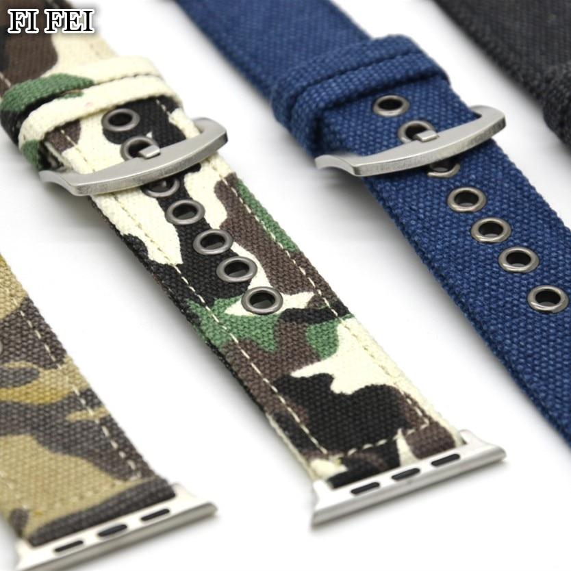 FI FEI Camouflage Canvas Strap for Apple Watch Band 42MM 38MM Leisure Bracelet Series 1 2 3 Wristwatch Bracelet dark denim blue survival bracelet camouflage