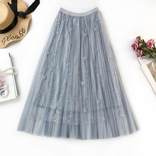 Women skirt summer 2019 Three-dimensional Embroidery femme Solid color Elasticated high waist vogue New arrive fashion
