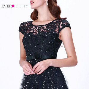 Image 5 - Prom Dresses Long 2020 Ever Pretty EZ07650 Womens Elegant Navy Blue Sleeveless Lace Appliques Embroidery Tulle Vestido Formatur