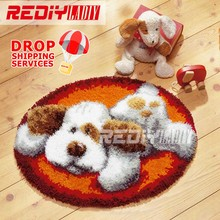 Latch Hook Rug Kits DIY Needlework Unfinished Crocheting Rug Yarn Cushion Mat White Dog at Rest 3D Embroidery Decorative Carpet(China)