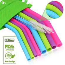 WALFOS 11 pieces/Set Reusable Silicone Straws Set Extra Long Flexible Bar accessories with Cleaning Brushes Bag