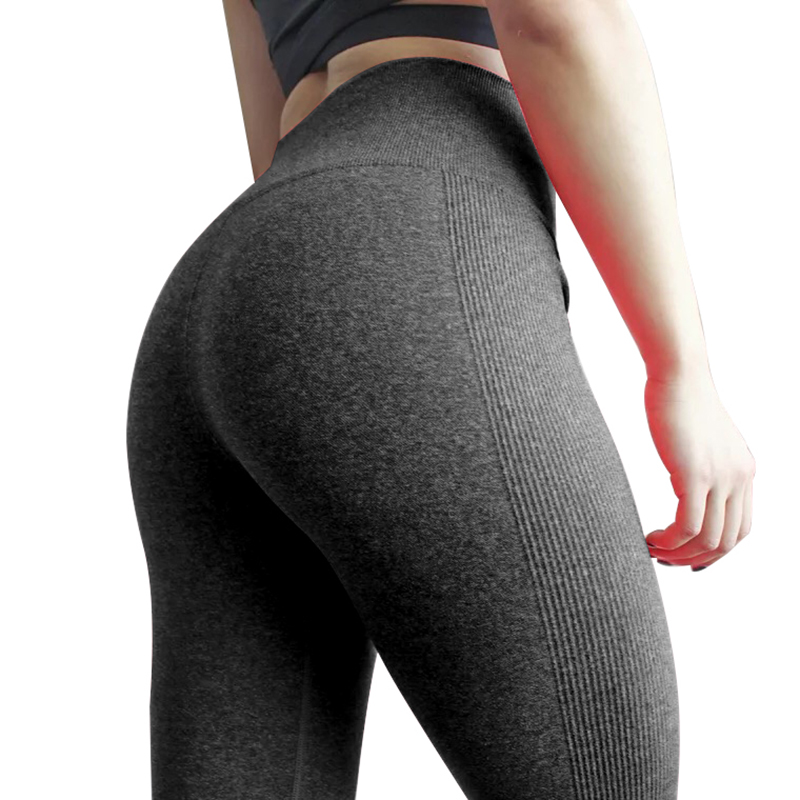 Women Compression Sporting Pants Grey Knitted Seamless Leggings Elastic Gym Fitness Workout Running Push Up Trousers Leggings