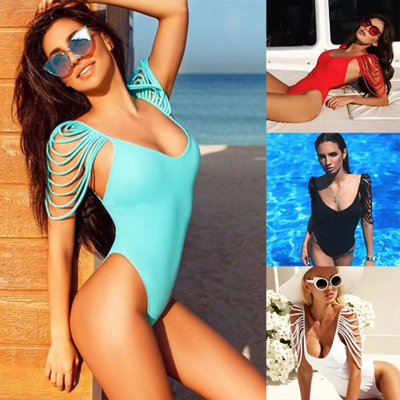 One Piece Swimsuit Women Swimwear 2019 Summer Sexy Bandage Vintage Bathing Suit Brazilian Backless Monokini Bodysuit Beach Wear in Body Suits from Sports Entertainment