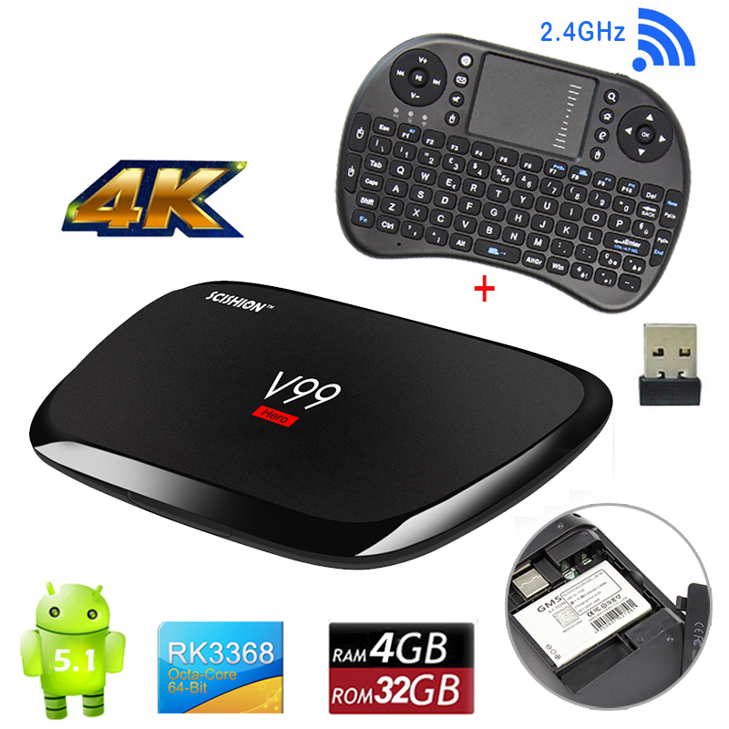 V99 Hero Android 5.1 4K TV Box RK3368 SGX6110 4G RAM 32G eMMC 4 USB 4K 5G WiFi HD Octa-core Smart Media Player Mini PC +Keyboard 1piece bben mn11 windows 10 os z8350 cpu intel mini pc tv dongle stick usb3 0 2 0 wifi bt4 0 computer 2g 32g ram 4g 64g emmc rom