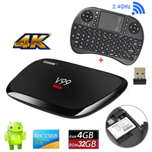V99 Hero Android 5.1 4K TV Box RK3368 SGX6110 4G RAM 32G eMMC 4 USB 4K 5G WiFi HD Octa-core Smart Media Player Mini PC +Keyboard