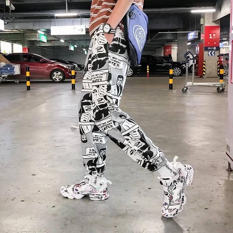 Cool 2019 Hip Hop Pants Amine Print Pencil Pants Men Elastic Waist Track Pants Trousers Mens Womens Fashion Joggers Sweatpants