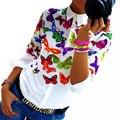 Женщины Шифон Рубашка Блузка Повседневная Мода С Длинными рукавами Turn Down Воротник Цветочные Бабочки Печати Топы бесплатная доставка LJ3981M