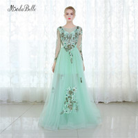 Modabelle Mint Green Tulle Evening Dress Floral Long Sleeve Dubai Prom Dress Patterns Applique Vestido De