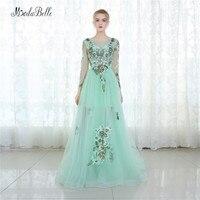 Modabelle Mint Green Tulle Evening Dress Floral Long Sleeve Dubai Prom Dress Patterns Applique Vestido De