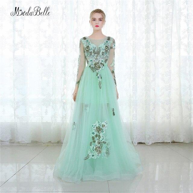 modabelle Mint Green Tulle Evening Dress Floral Long Sleeve Dubai ...