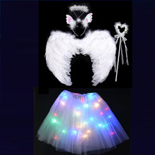 Baby Kids Girl LED Light Tutu Skirt White Angel Wing Headband Wands Party Birthday Cosplay Dance Glow Show Halloween costume цена 2017