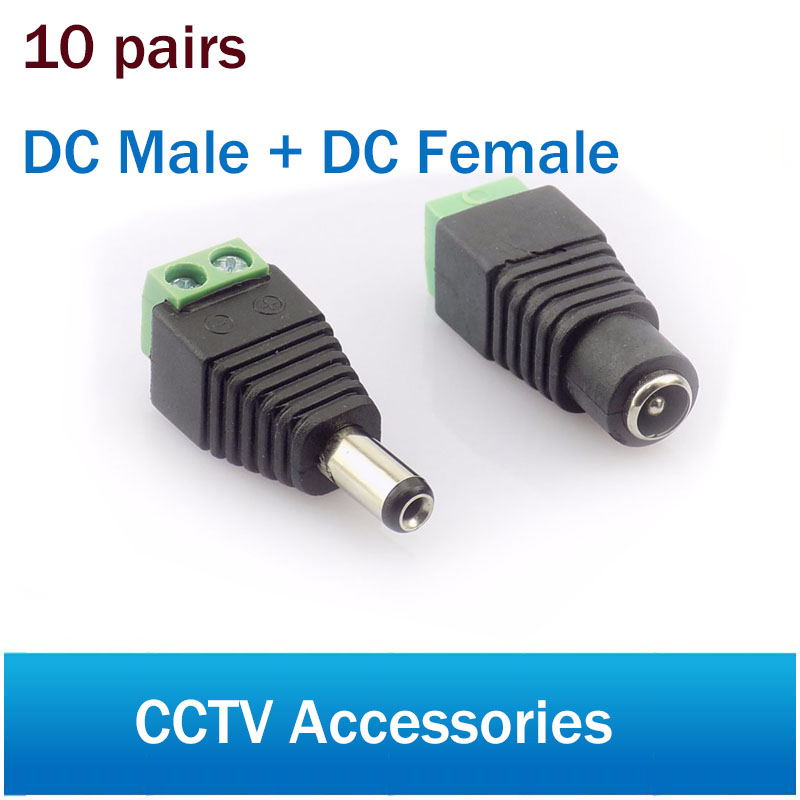 Coaxial Cat5 To Bnc DC Power Male jack plug DC female Connector plug adapter Av BNC UTP for CCTV Camera Video Balun 100 pcs cctv video balun 5 5x2 1mm dc power plug terminals connector detachable