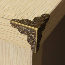 10Pcs Antique Jewelry Box Corner Foot Wooden Case Corner Protector Bronze Tone Flower Pattern Carved  Metal Crafts 10 x 25mm