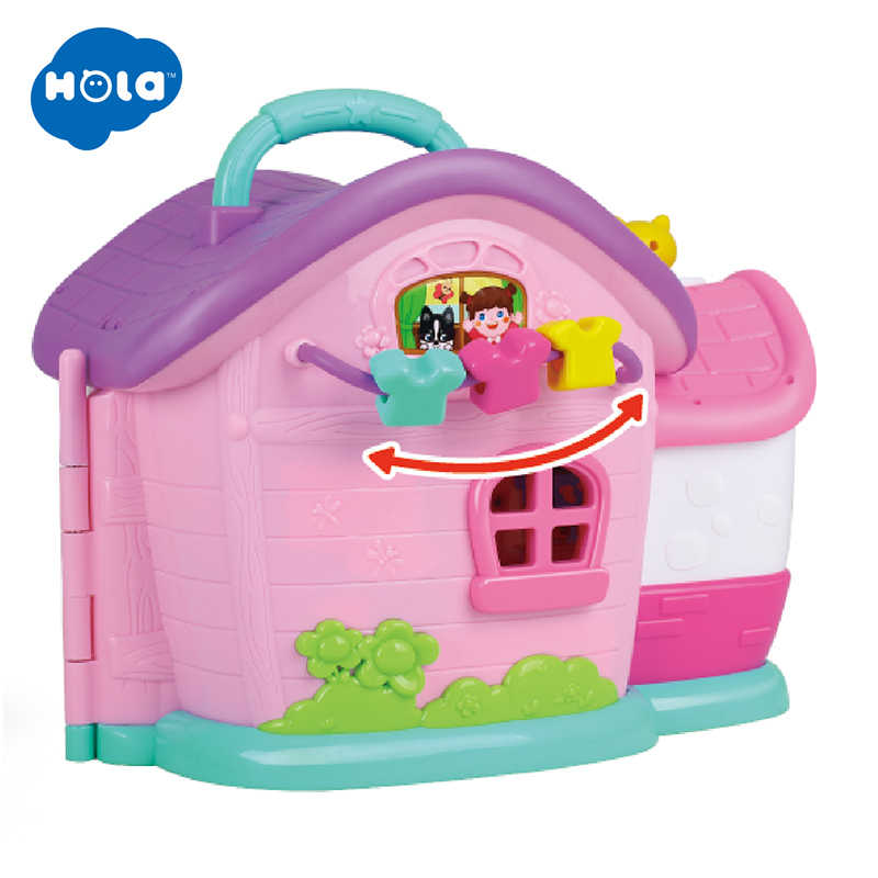 HOLA 3128B  Families House Princess Dollhouse Diy Villa Castle With Furnitures Simulation Dream Girl Toy House for 3 Years