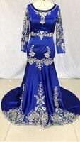 Frete grátis Azul Royal mangas compridas de Cetim Tribunal trem Applique Frisado Sereia vestido de noiva 2017