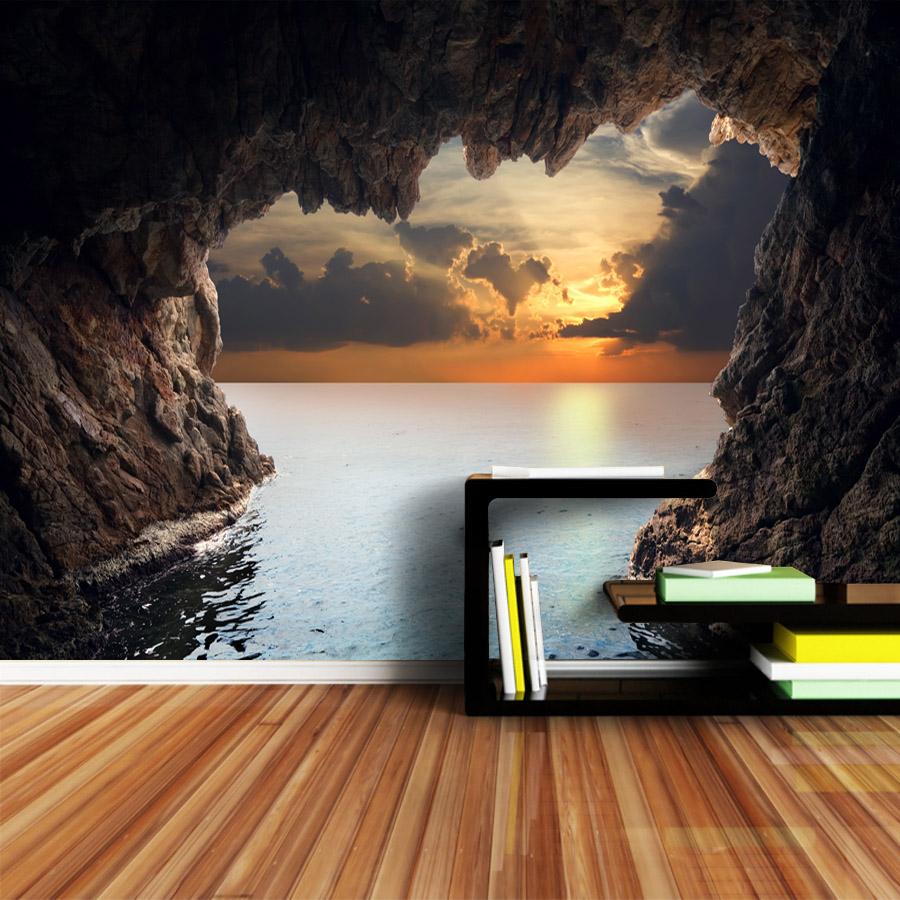 Custom 3d Photo Wallpapers Murals Roll Wall Papers Home Decor Art For Living Room Wallpaper Sea Cave Sunset Seascape TV Bedroom