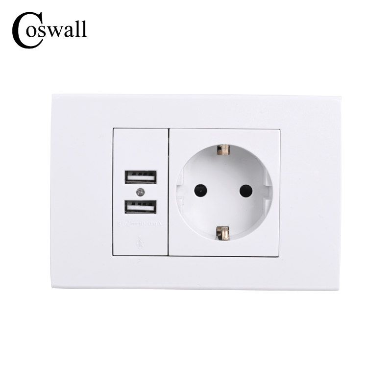 COSWALL Wall Power Socket Grounded 16A EU Standard Electrical Outlet With 1000mA Dual USB Charger Port for Mobile 118mm*80mm