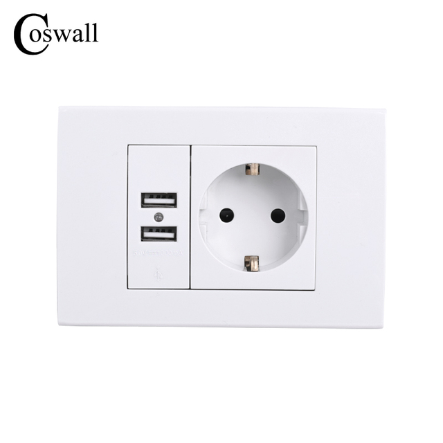 COSWALL Wall Power Socket Grounded 16A EU Standard Electrical Outlet ...