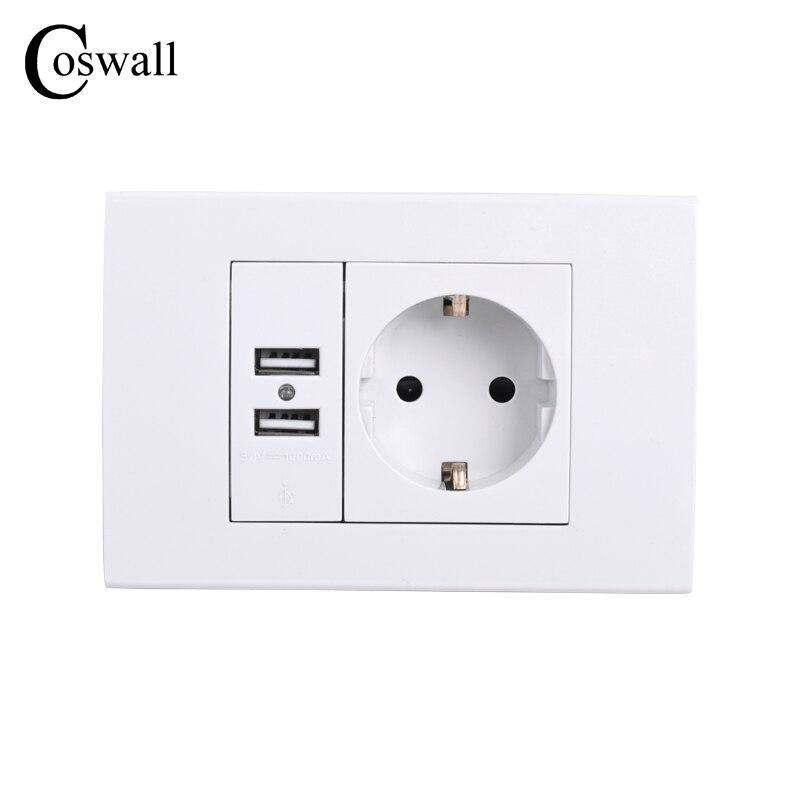 Toma de corriente de pared COSWALL con conexión a tierra 16A enchufe eléctrico estándar de la UE con puerto cargador USB Dual 1000mA para móvil 118mm * 80mm