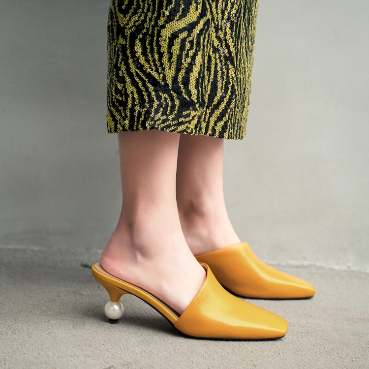 Formal Vintage Boda Tacones amarillo Las Amarillo Blancos Señoras Dedo Cuadrado Rojo De Pie Del Sandalias Mujeres Mulas Cuero blanco Rojo Zapatos pqrPTw7xp