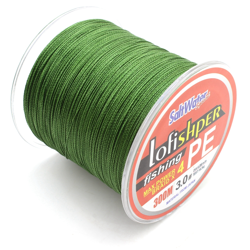 300M 4color 330Yards Braided fishing line 4 strands PE Material Super strong Japan Multifilament Fishing Line Free shipping