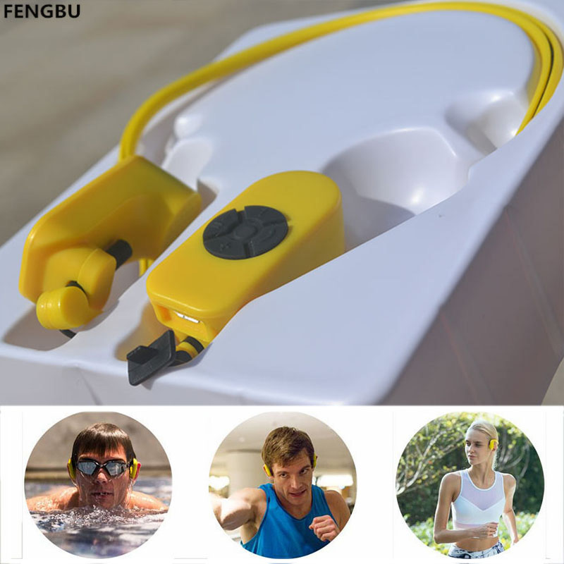 FENGBU Bone Conduction Waterproof MP3 4GB 8GB Player IPX8 Sport Headphone Adjustable Angle Protect Eardrum for