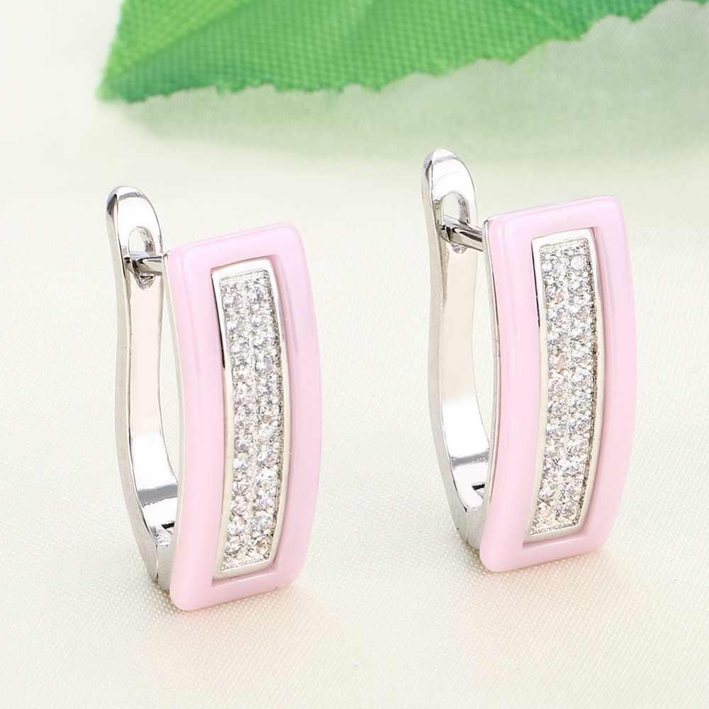 Prostokąt w kształcie litery U kolczyki z błyszczące kryształki i okrągły wisiorek naszyjnik różowy ceramiczne mody zestaw biżuterii dla prezenty dla pań