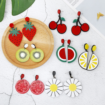 XIYANIKE Acrylic Earrings For Women Watermelon Lemon Strawberry Summer Sunflower Kiwi Tomato Exaggerated Cherry Earrings.jpg 350x350 - XIYANIKE Acrylic Earrings For Women Watermelon Lemon Strawberry Summer Sunflower Kiwi Tomato Exaggerated Cherry Earrings