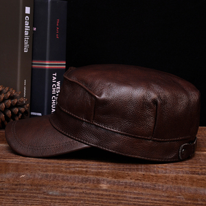 Image 3 - HL059  Mens genuine leather baseball cap hat brand new spring real leather adult solid adjustable army hats/caps