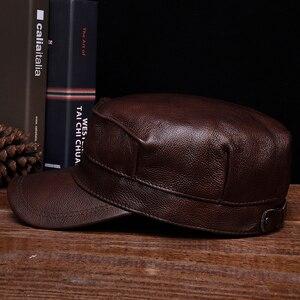 Image 3 - HL059 الرجال قبعة بيسبول جلدية حقيقية قبعة العلامة التجارية الجديدة الربيع الجلد الحقيقي الكبار الصلبة قابل للتعديل الجيش القبعات/قبعات