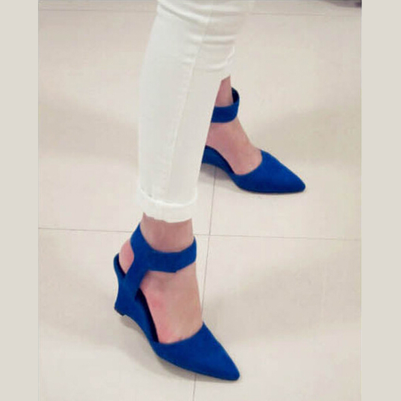a7cc334db3ed New 2015 Women Pumps Fashion Wedge Sandals Summer Shoes PU White blue black  Fashion Ankle Strap Pointed Toe High Heels