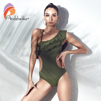 Andzhelika Bikini 2018 Sexy One Piece One Shoulder Swimsuit Ruffle Women Swimwear Bodysuits Hollow Out Bathing