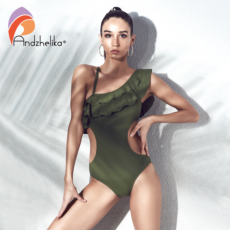 Andzhelika bikini 2018 Sexy One Piece One Shoulder Swimsuit Ruffle Women Swimwear Bodysuits Hollow Out Bathing Suit Monokini hollow out swimsuit