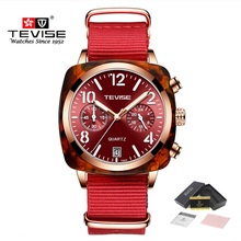 Brand TEVISE Quartz Watch Men Luxury Fashion Automatic Date Mens Nylon Strap Business Waterproof Wristwatches Male Clock