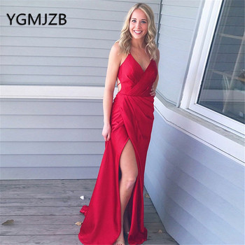 Sexy Backless Red Long Evening Dresses 2019 Sheath V-Neck Spaghetti Straps High Side Split Satin Women Formal Prom Party Dress