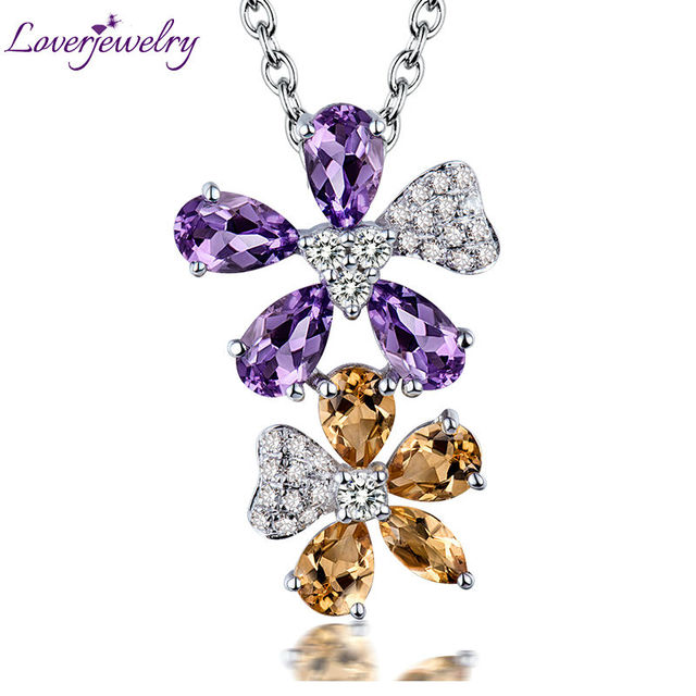 Colorful Anniversary Jewelry Solid 18K White Gold Natural Amethyst Citrine Promised Pendant Necklace for Women Gift