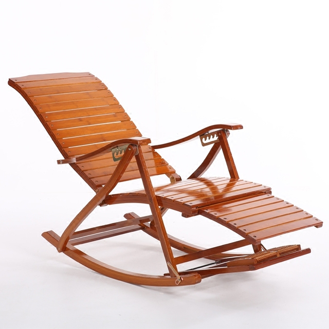 Cómodo relajarse bambú mecedora con reposapiés diseño Sala muebles ...