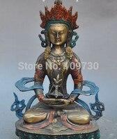Ev ve Bahçe'ten Statü ve Heykelleri'de 003289 Tibet superb Budizm Bronz Lekeli Kwan Yin Guan yin Beyaz Tara Buda Heykeli