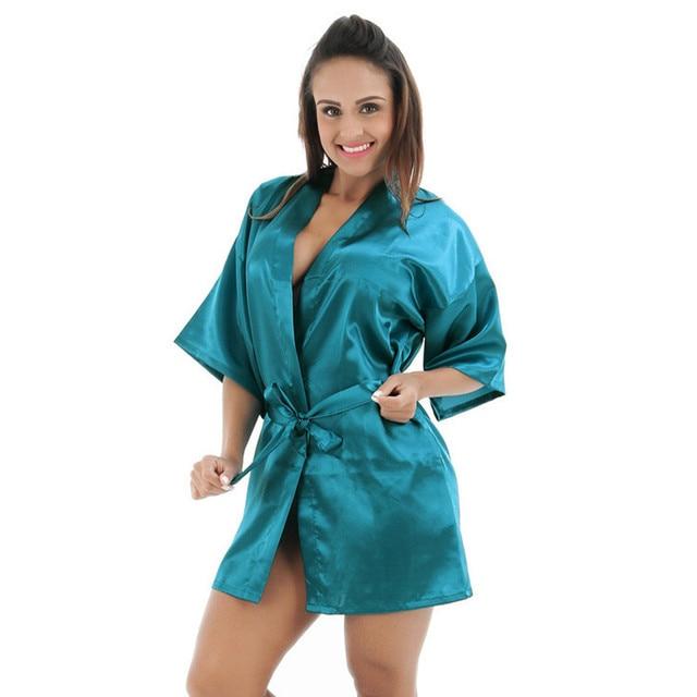 d39f8141ee0 Drak Green Chinese Women Silk Rayon Robe Mini Short Lingerie Sexy Kimono  Night Gown Sleepwear Pijama Size S M L XL XXL