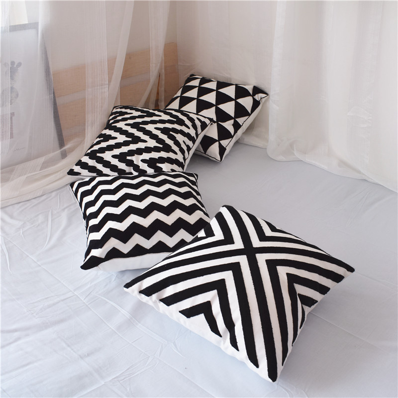 Canvas Black White Embroidered Square 18 Inches Pillow Case Sofa Cushion Cover For Chair Cushion Case 45x45cm Without Stuffing
