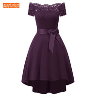 Fashion Purple Prom Dress 2019 Burgundy Short Dresses Prom Boat Neck Zipper High Low Knee Length Banquet Homecoming Party Gowns