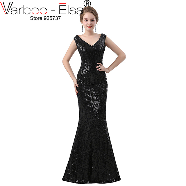 Varboo Elsa Black Shiny Mermaid Evening Dress 2018 New Bling Fashionable Party Gown Y Backless Women
