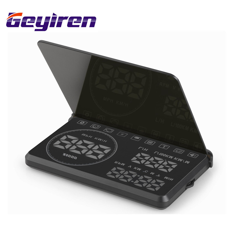 GEYIREN Car HUD Head Up Display Speeding Voltage Warning Windshield Projector System OBDII OBD Interface Plug & Play rastp m9 hud 5 5 inch head up windscreen projector obd2 euobd car driving data display speed rpm fuel consumption rs hud011