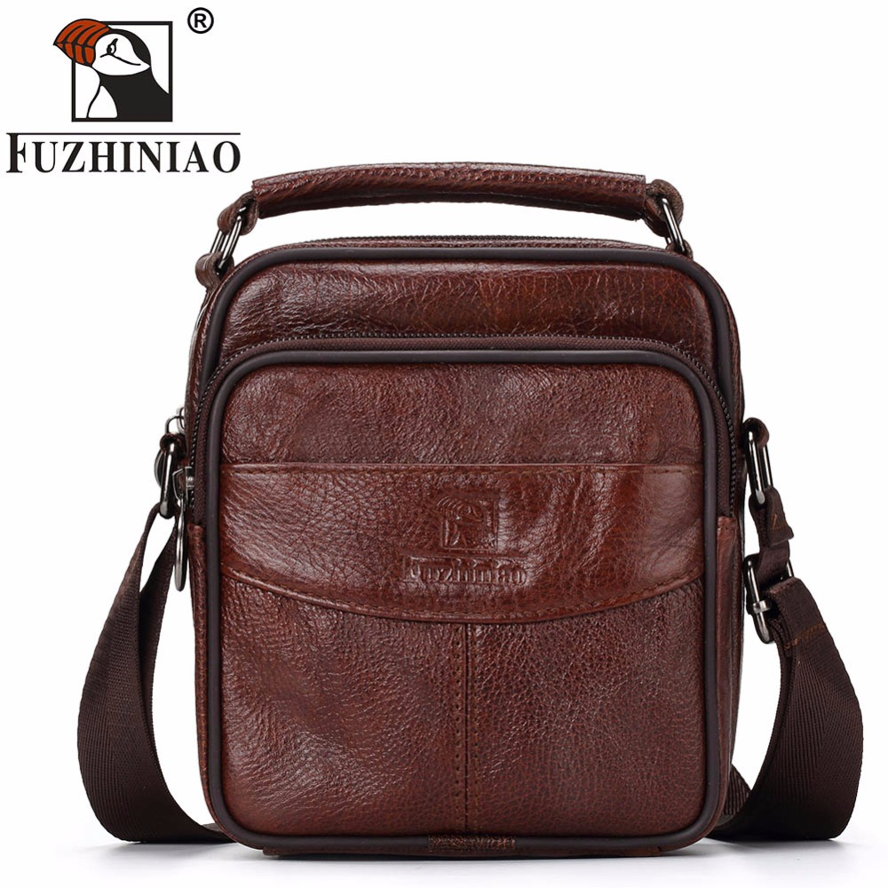 FUZHINIAO Men's Bag Shoulder Crossbody Bags For Men Messenger Genuine Leather Mini Small Male Handbags Black Brown New Brands hot 2017 genuine leather bags men high quality messenger bags small travel black crossbody shoulder bag for men li 1611
